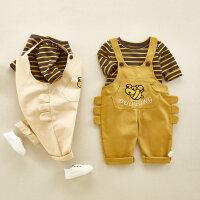婴童套装春秋3-6-9个月男宝宝背带裤洋气套装 儿童两件套一岁外出衣服