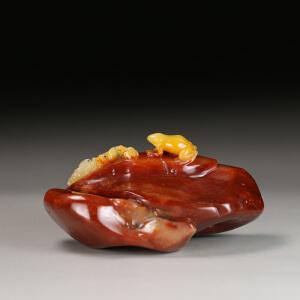 寿山老性巧色芙蓉石 精雕蛙趣摆件 p1154