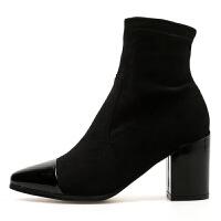 小短靴女春秋2018新款百搭磨砂弹力尖头粗跟黑色高跟裸靴短筒踝靴 黑色