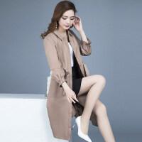玫兰妮2018春秋季新款韩版中长款风衣女士修身百搭九分袖系带外套