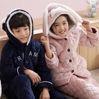 儿童睡衣女童冬季三层夹棉中大童男孩保暖套装