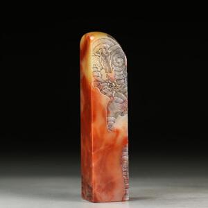 巧色老挝彩冻石 精雕龙腾盛世薄意印章 p3422