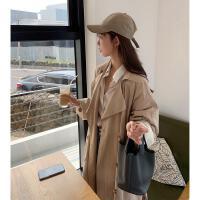 中长款风衣外套女秋季韩版宽松休闲系带翻边长袖衬衫领外套潮