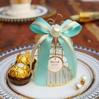 喜糖盒子马口铁盒 个性创意糖盒子马口铁鸟笼铃铛喜糖盒唯美伴手礼 空盒