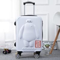 卡通拉杆箱万向轮儿童旅行箱 女 拉杆24寸潮行李箱男20寸登机涂鸦 白色 大白