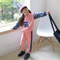 秋季韩版童套装中大童两件套女童套装时尚拼色印花卡通套装