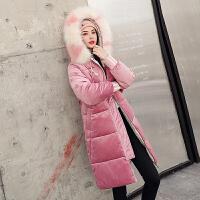 【年货节 直降到底】金丝绒棉衣女2020冬装新款韩版加厚中长款保暖棉服连帽毛领外套女装