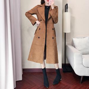 卡茗语风衣女中长款2017冬鹿皮绒新款韩版显瘦修身明星同款大衣外套