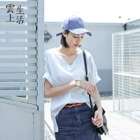 云上生活女装夏装气质V领宽松t白色t恤女短袖T恤衫夏T6678
