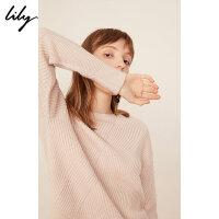 Lily春新款女装条纹撞色宽松圆领毛衣毛针织衫119100B8348