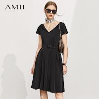 【2件3折234元,再叠90/70/30元礼券】Amii极简设计感气质西装连衣裙2021夏新款收腰显瘦小黑裙
