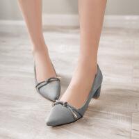 彼艾2018春季新款粗跟单鞋女 交叉绑带尖头女鞋欧美浅口高跟鞋女
