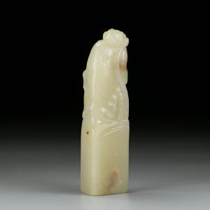 寿山结晶汶洋石 精雕荷叶雅趣印章 jd006