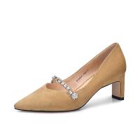 camel 骆驼女鞋 2018春季新品 水钻尖头单鞋女 舒适粗跟高跟鞋