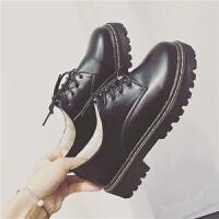 春秋款英伦复古学院风黑色单鞋圆头厚底大码女鞋中跟休闲小皮鞋女