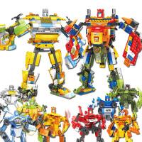 积木4合1宇宙变形积木合体拼装玩具大力神奥米加生日礼物汽车人模型机器人合体