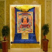 藏传佛教用品 西藏仿手绘镀金释迦摩尼唐卡 佛堂装饰释迦佛像挂画