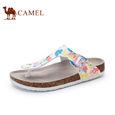 骆驼牌女鞋 新品时尚印花软木凉拖鞋女人字拖休闲沙滩鞋