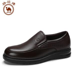 骆驼牌 男鞋新品舒适商务休闲皮鞋低帮耐磨套脚男士鞋子