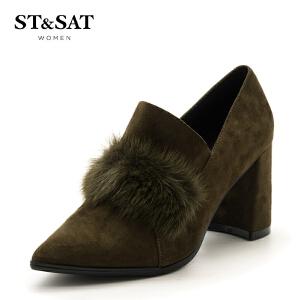 星期六(ST&SAT)专柜同款绒面羊皮革OL风粗跟单鞋SS73112260