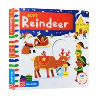 Busy系列 繁忙忙碌的驯鹿 Busy Reindeer 英文原版绘本 推拉滑动机关操作纸板书 儿童英语启蒙低幼趣味游戏