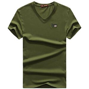 1722161夏装新款战地吉普AFSJEEP弹力半袖T恤衫 V领男士短袖polo
