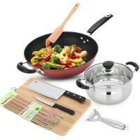 美厨(maxcook)锅具套装 炒锅汤锅砧板菜刀水果刀筷子木铲削皮刀厨具组合8件套 MCTZ254