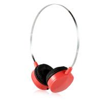 时尚便携线控头戴式耳机 多彩配色 清晰通透 立体声运动防汗耳机带麦 粉红色