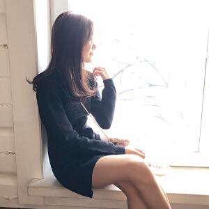 谜秀连衣裙女秋冬装2017新款韩版修身显瘦毛衣裙针织打底裙子