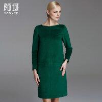 颜域品牌女装2017秋冬新款欧美时尚纯色长款大码百搭羊毛呢连衣裙