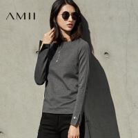 AMII[极简主义]秋装新款印花直筒宽松大码针织毛衣女11681782