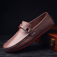 男鞋时尚休闲鞋男牛皮豆豆鞋男士轻商务绅士低帮套脚皮鞋男