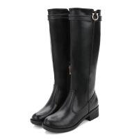 2018欧美潮流女式长靴子 冬季新款加绒粗跟时尚马丁靴女一件 黑色