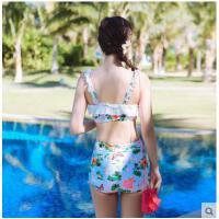 平角分体比基尼温泉游泳衣女 少女学生保守性感聚拢高腰显瘦泳衣