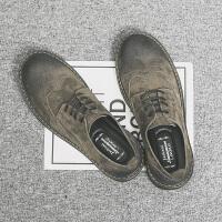 布洛克休闲皮鞋潮马丁靴男低帮百搭内增高工装春季2019新款板鞋 暗咖 【低帮】