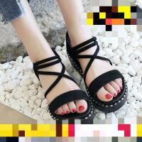 凉鞋仙女风夏季新款坡跟沙滩罗马鞋学生网红厚底女鞋 37 标准码数 女款
