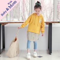 J2710 秋季韩版女童卫衣新款时尚亲子装假两件拼接格子连帽卫衣