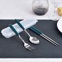 色釉陶瓷餐具套装 纯色叉勺筷 不锈钢旅行三件套 学生便携盒
