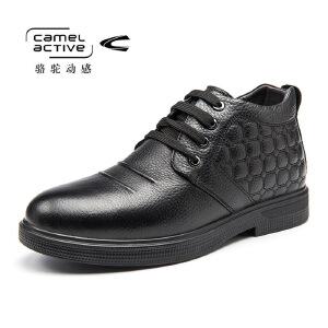Camel Active/骆驼动感加绒男鞋真皮商务皮鞋高帮软面父亲爸爸鞋