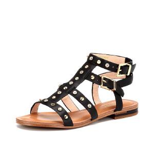 【星期六集团大牌日】St&Sat/星期六夏季牛皮铆钉T型带低跟潮酷罗马凉鞋女鞋SS62118124