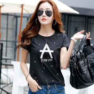 2017春夏新款棉质短袖T恤女韩版修身女装上衣半袖体恤打底衫潮