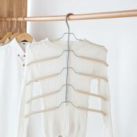 防滑多层衣架居家衣柜不锈钢多功能衣撑子海绵防滑衣架