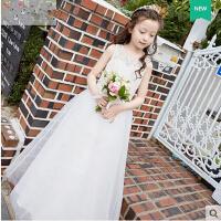 韩版新款儿童主持人演出服女童婚纱公主裙韩版长款花童礼服