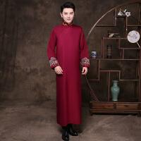 中式结婚礼服伴郎服马褂唐装男长衫长袍相声服大褂古装