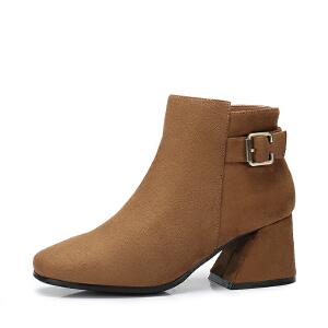 camel骆驼女鞋 2017秋冬新款 优雅粗跟短筒靴子通勤简约方头方跟短靴女
