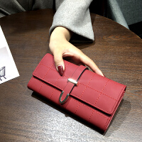 韩版2018新款简约手拿包钱包女士长款磨砂复古女式钱夹个性皮夹潮