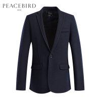 太平鸟男装 冬季商务修身西服一粒扣休闲羊毛西装外套便服单西潮