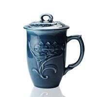 乾唐轩活瓷兰花高杯陶瓷茶杯办公水杯子带盖