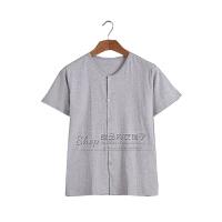 夏季中老年人短袖男士�_衫�棉上衣加肥大�a中年爸爸夏天薄款睡衣