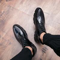 尖头鞋男布洛克高帮男士皮鞋内增高系带发型师皮鞋 旭日升68706黑色